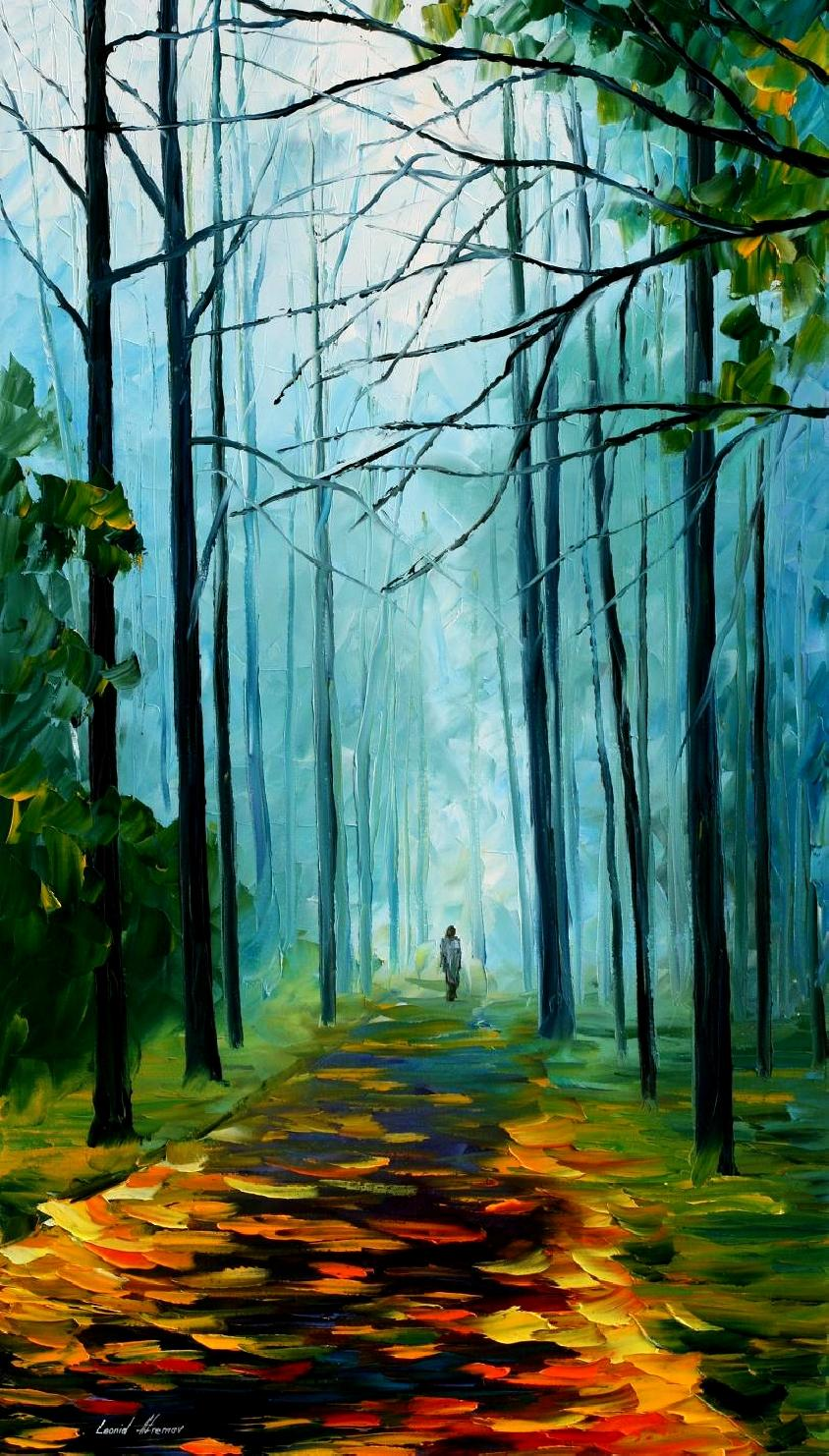 "SUMMER FOREST — PALETTE KNIFE Oil Painting On Canvas By Leonid Afremov - Size 20""x36"" (offer)"