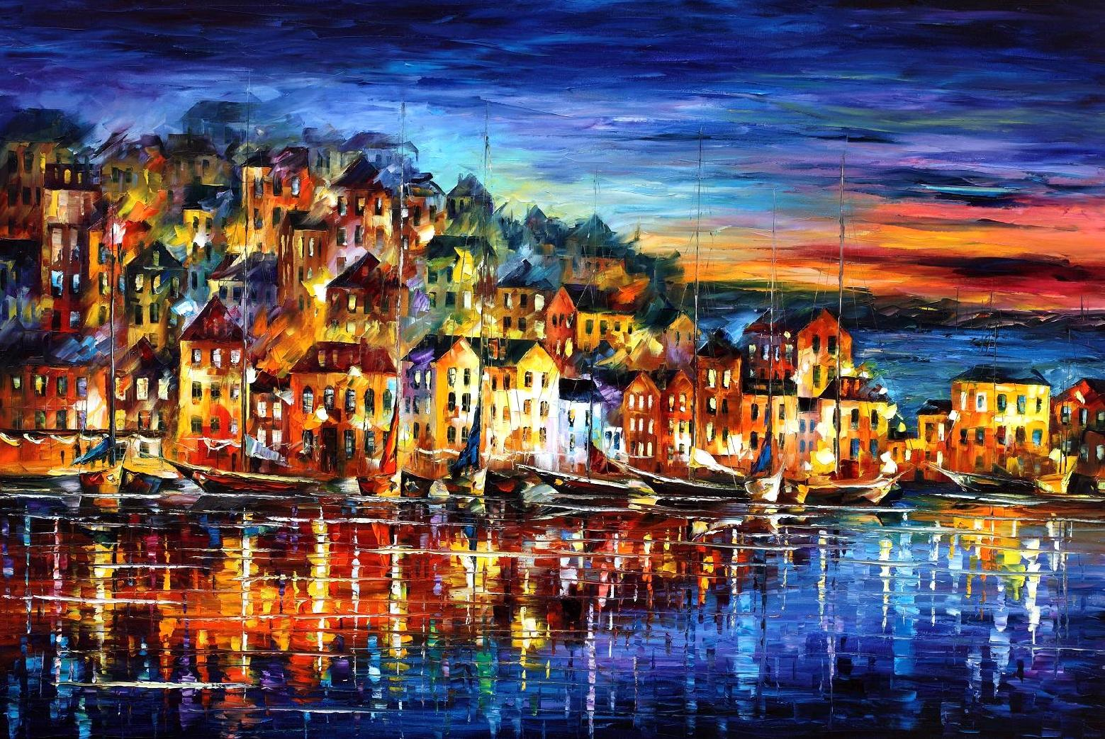 "QUIET TOWN — PALETTE KNIFE Oil Painting On Canvas By Leonid Afremov - Size 40""X30"" (100cm x 75 cm) (offer)"