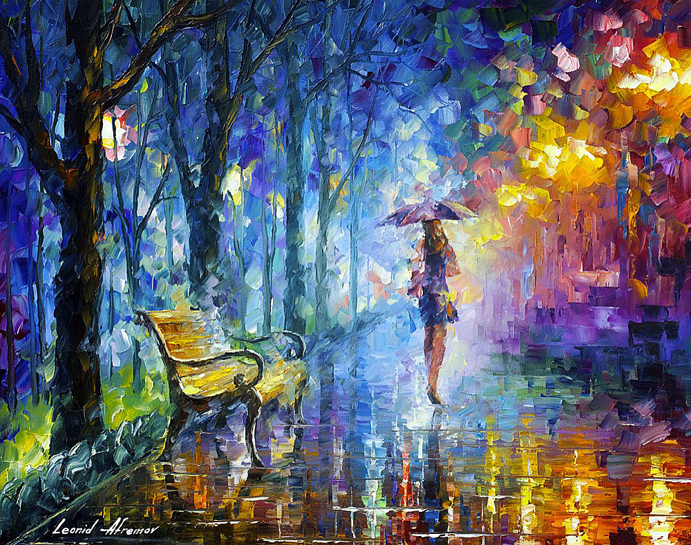 "MISTY UMBRELLA — PALETTE KNIFE Oil Painting On Canvas By Leonid Afremov - Size 24""x30"" (60cm x 75cm) (offer)"