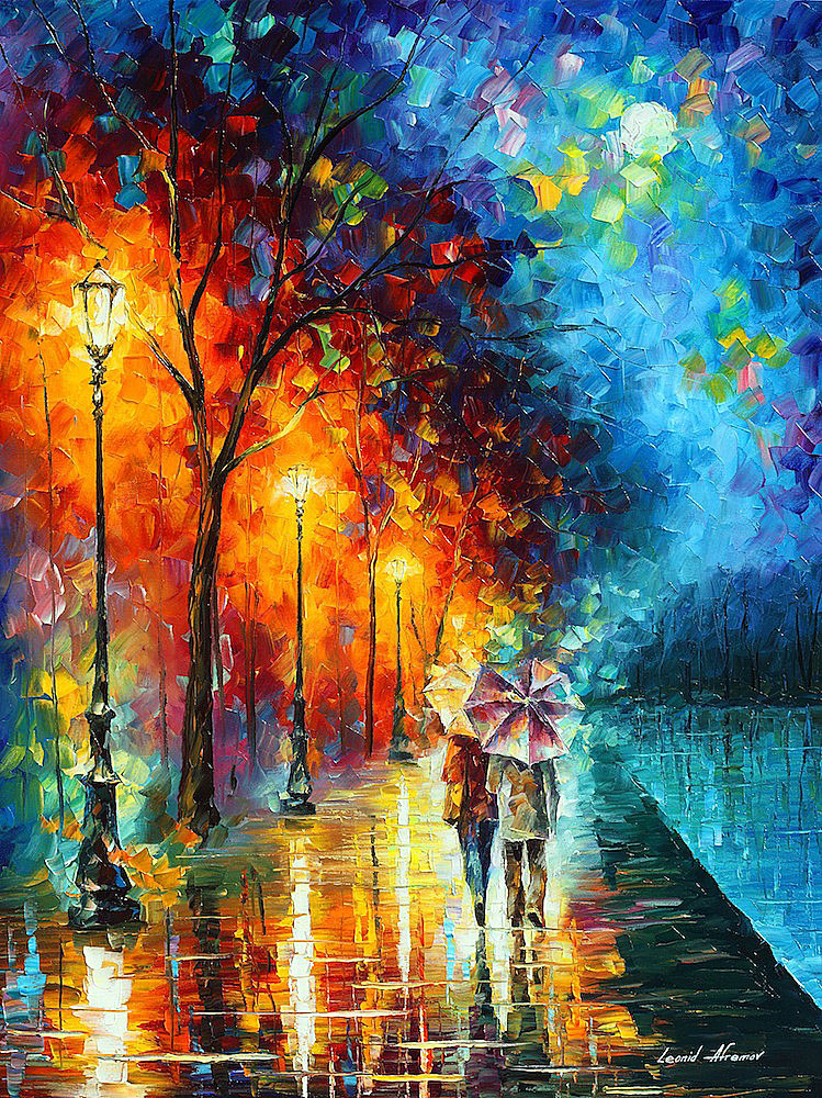 "LOVE BY THE LAKE — Original Oil Painting On Canvas By Leonid Afremov - Size 30""x40"" (75cm x 100cm)"