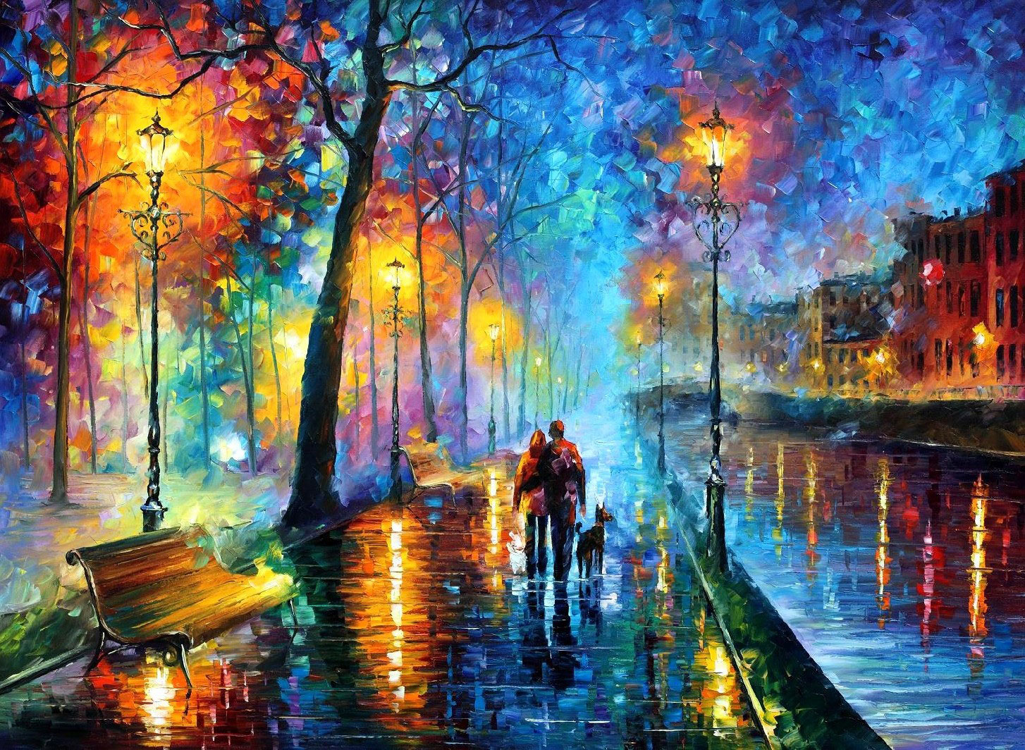 "MELODY OF THE NIGHT — Original Oil Painting On Canvas By Leonid Afremov - Size 40""x30"""