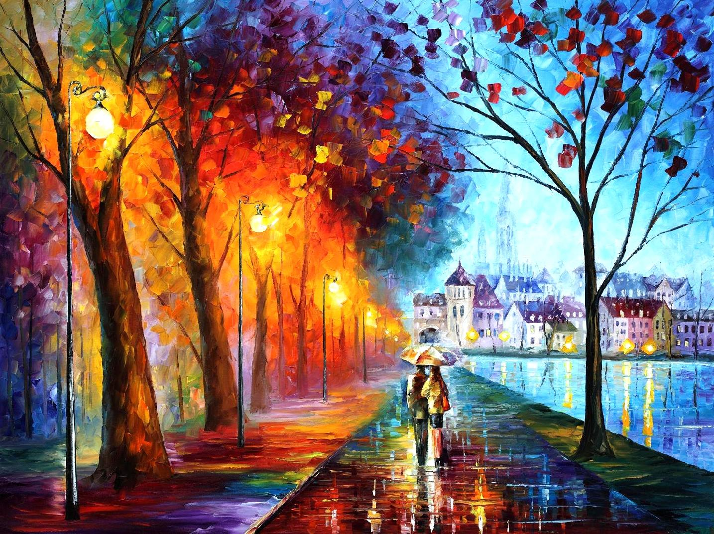"CITY BY THE LAKE — Original Oil Painting On Canvas By Leonid Afremov - Size 40""x30"""