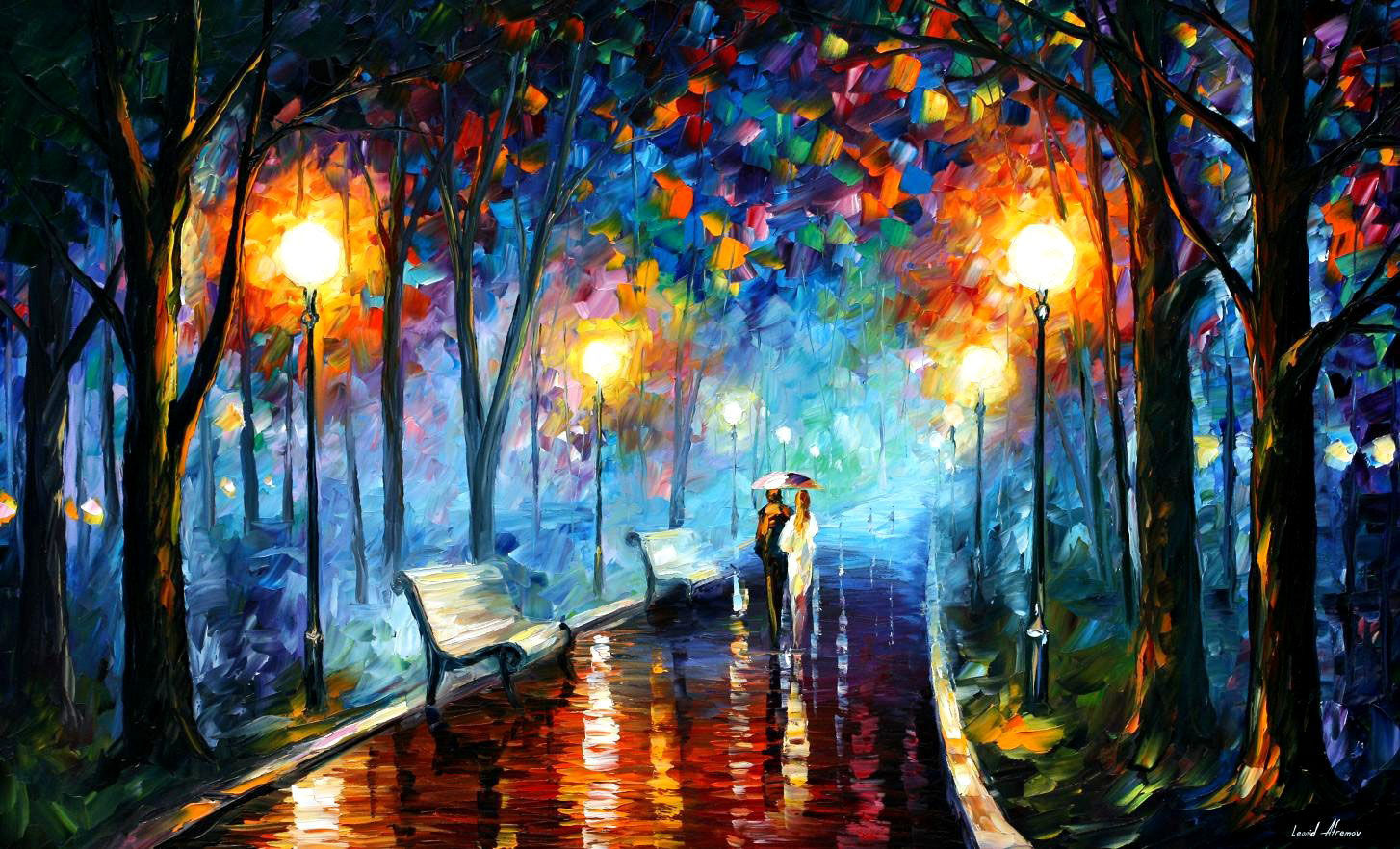 "MISTY MOOD — Original Oil Painting On Canvas By Leonid Afremov - Size 40""x24"""