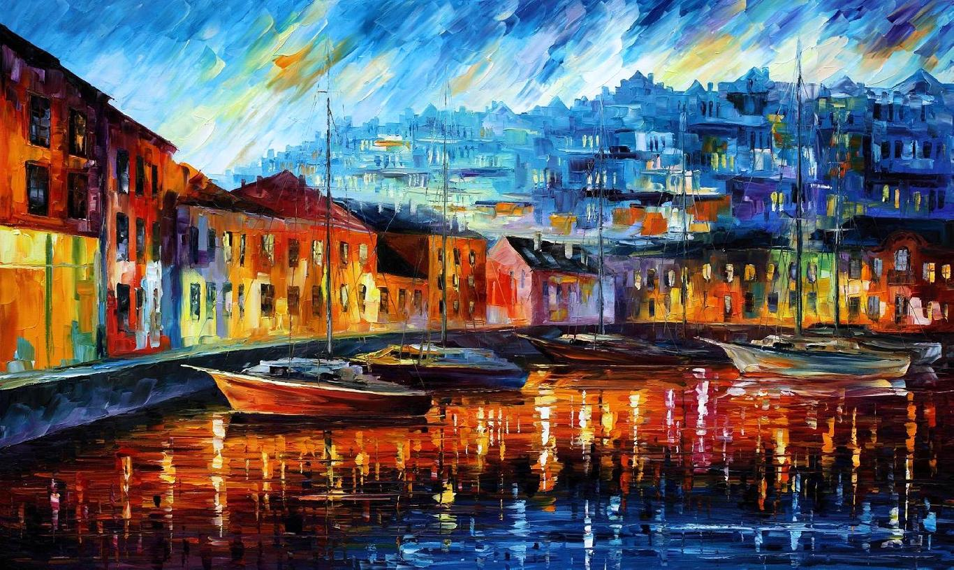"BLUE HARBOR — Original Oil Painting On Canvas By Leonid Afremov - Size 40""x24""  (100cm x 60cm)"
