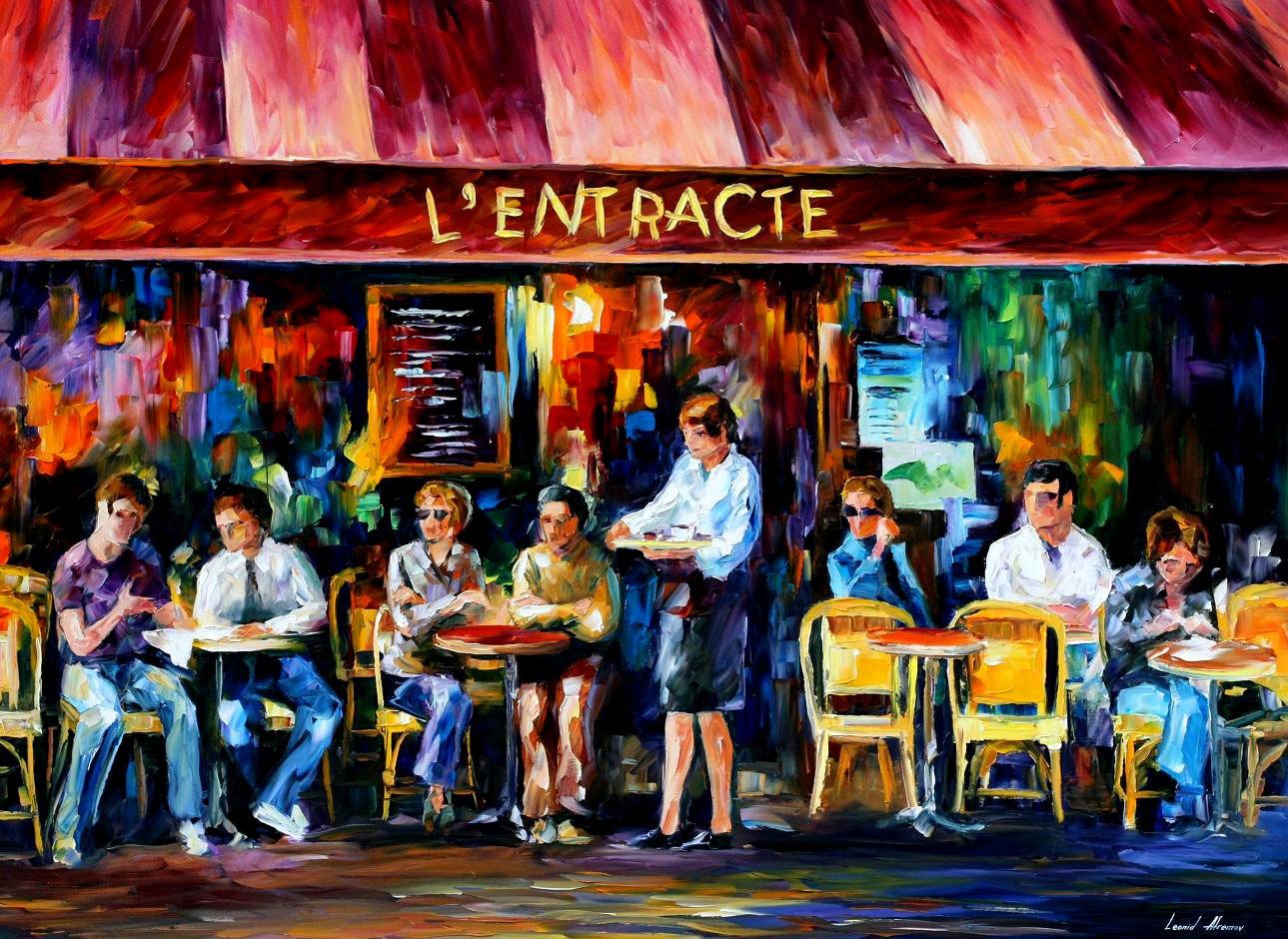 "CAFE IN PARIS — Original Oil Painting On Canvas By Leonid Afremov - Size 40""x30""(100cm x 75cm)"