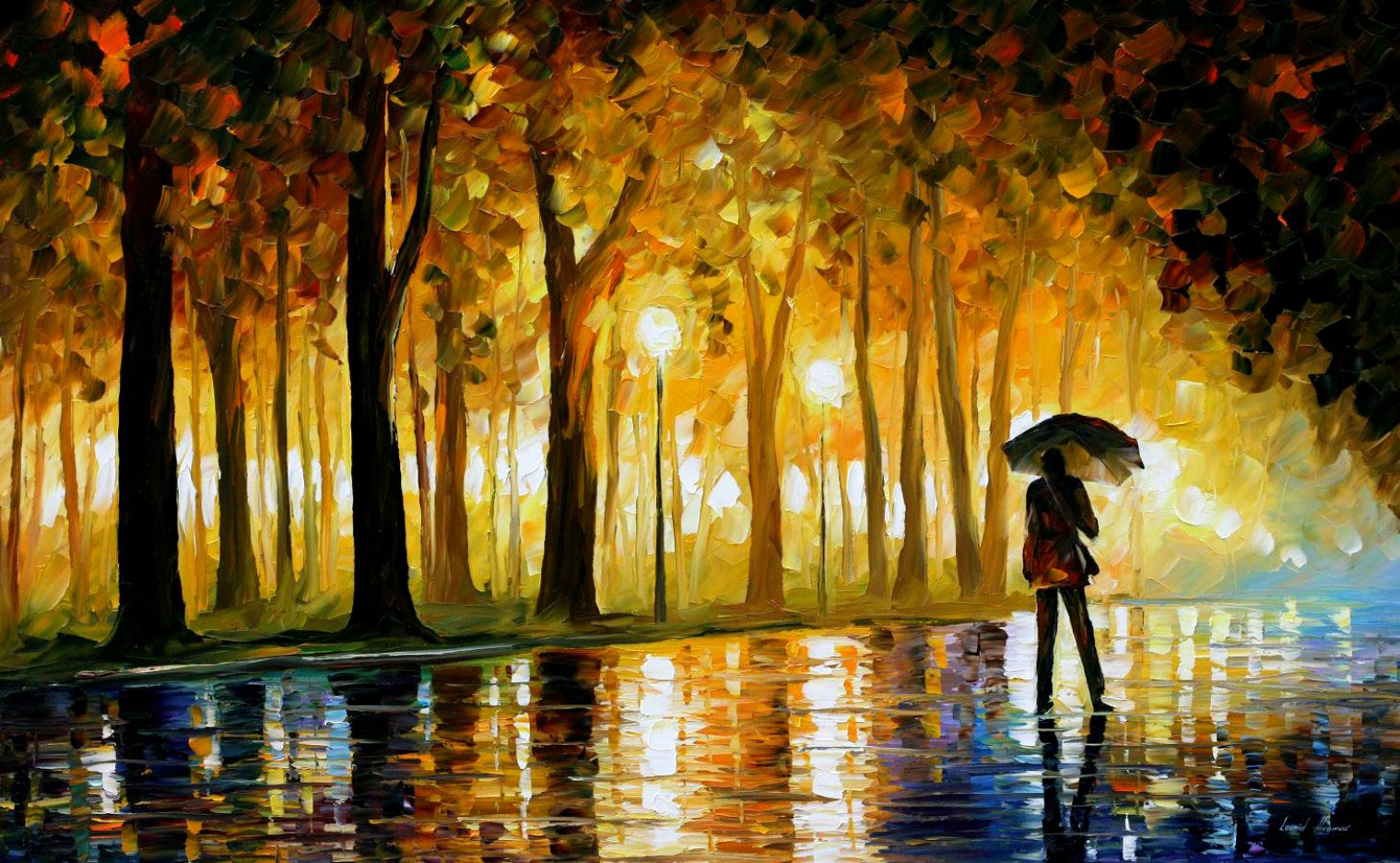 "BEWITCHED PARK — Original Oil Painting art  on Canvas by Leonid Afremov  - Size 40""x24"""