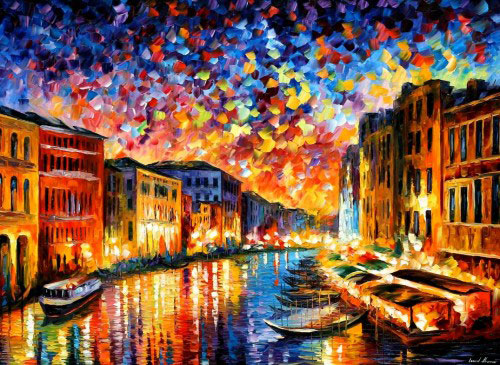 "VENICE GRAND CANAL - Original Oil Painting On Canvas By Leonid Afremov - Size 40""X30"" (100cm x 75cm)"