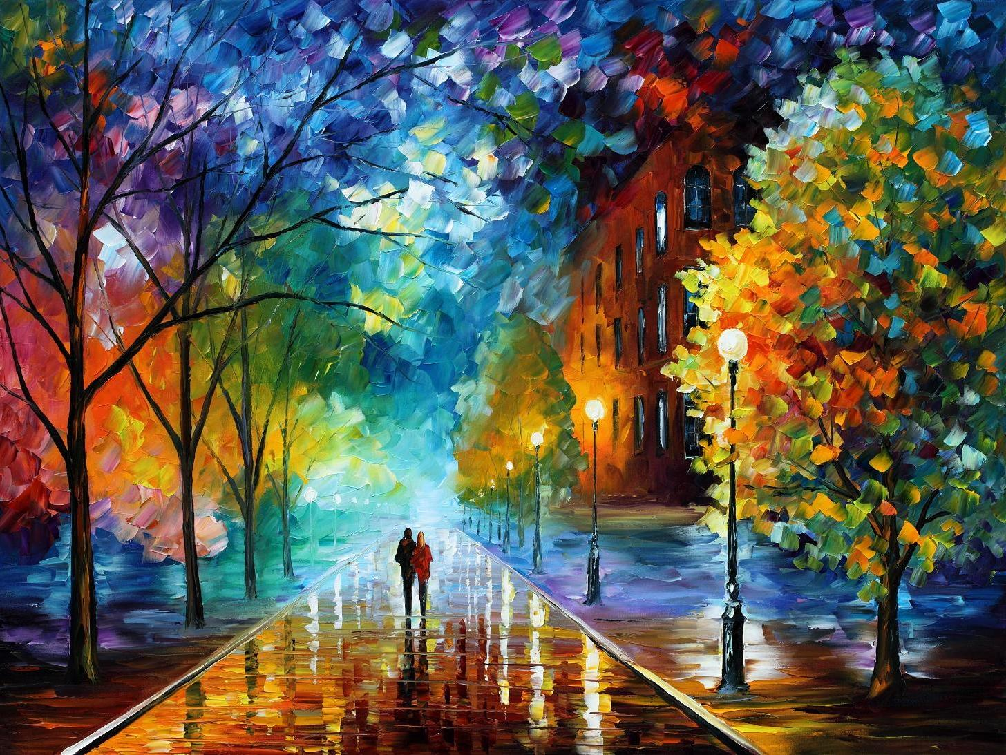 "FRESHNESS OF COLD — Original Oil Painting On Canvas By Leonid Afremov - Size 40""x30"" (100cm x 75cm)"
