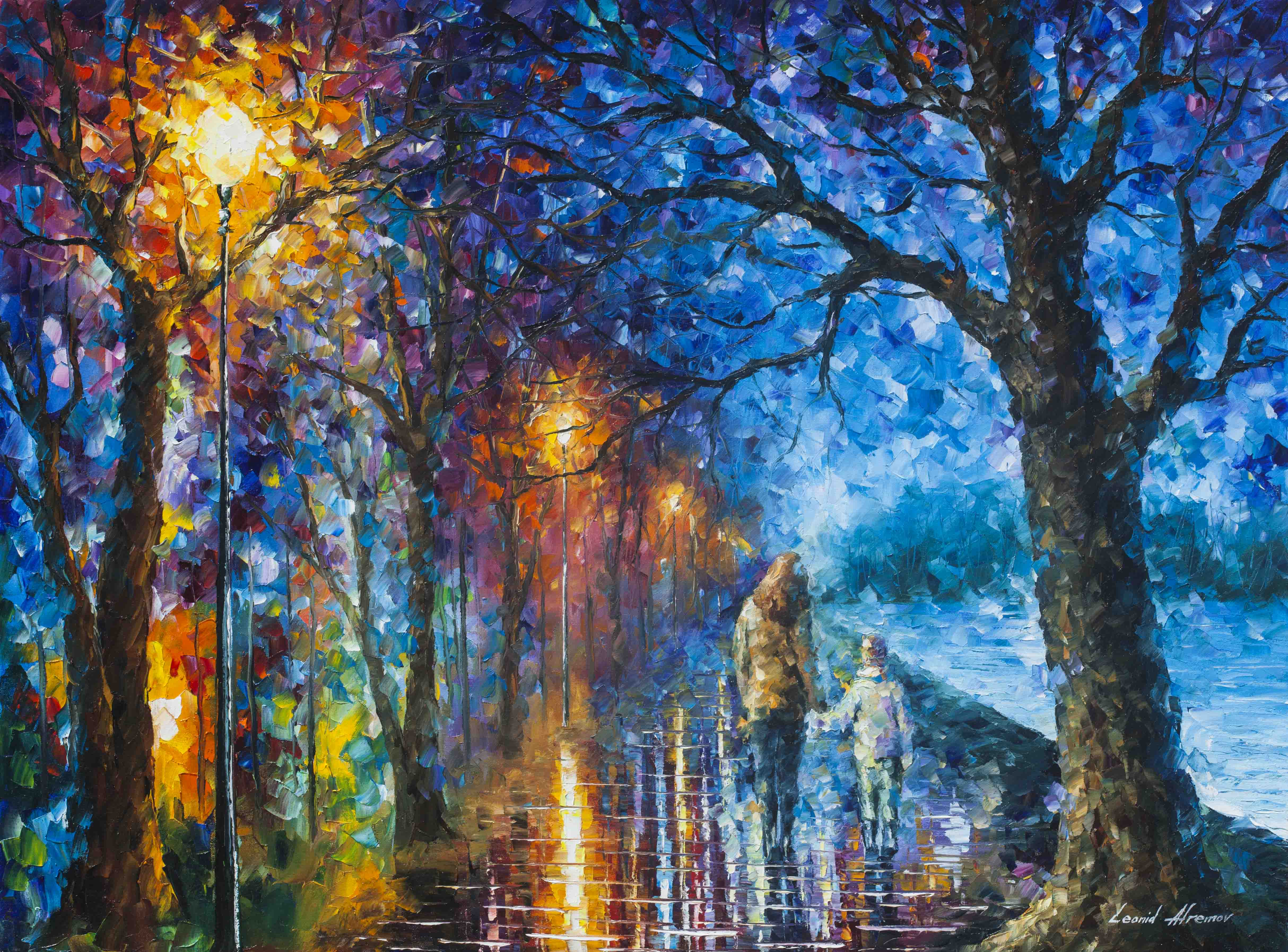 "MYSTERY OF THE NIGHT —  Original Oil Painting On Canvas By Leonid Afremov - Size 40""x30""  (100cm x 75cm)"