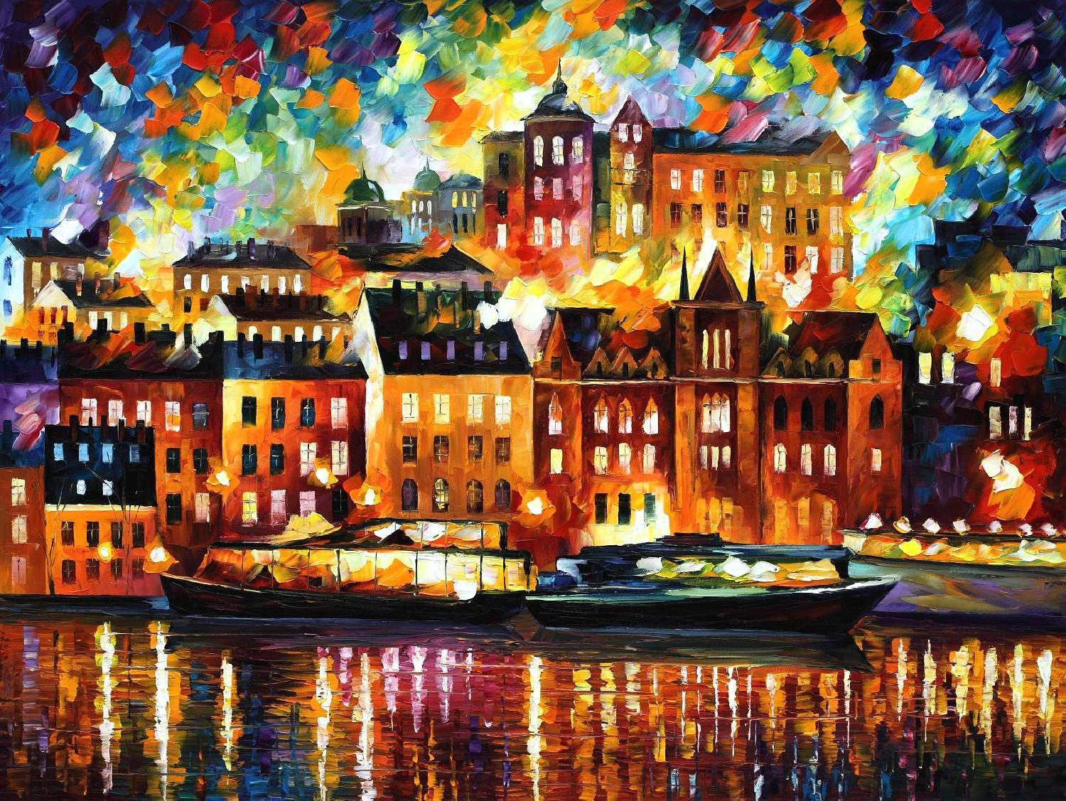 "STOCKHOLM — Original Oil Painting On Canvas By Leonid Afremov - Size 40""X30"""