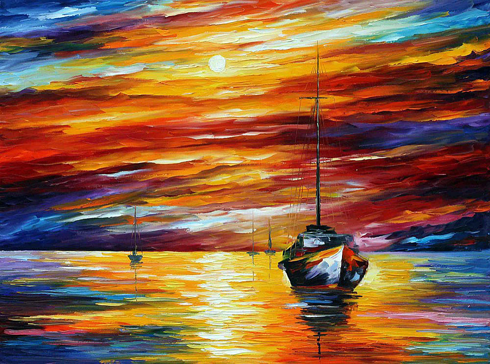 "ALMOST MORNING — Original Oil Painting On Canvas By Leonid Afremov - Size 40""x30"" (100cm x 75cm)"