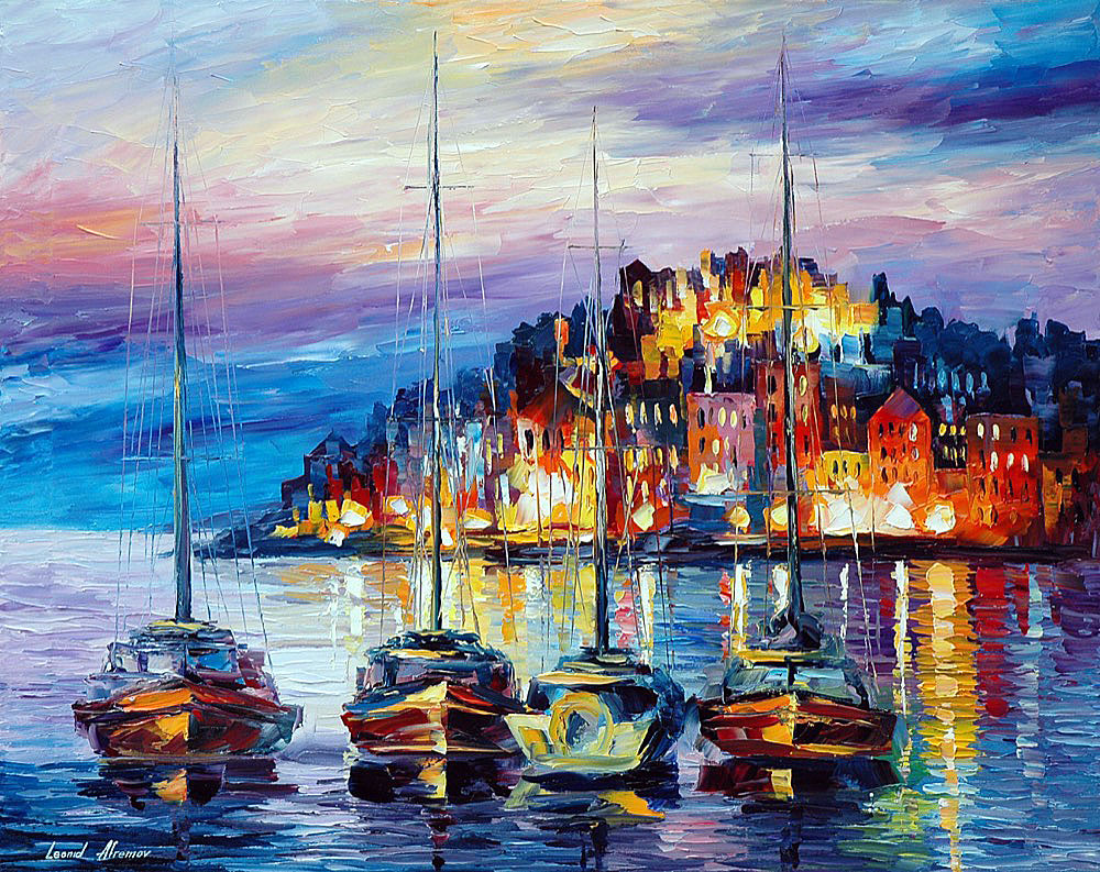 "EVENING HARBOR — Original Oil Painting On Canvas By Leonid Afremov - Size 40""X30"" (100cm x 75cm)"