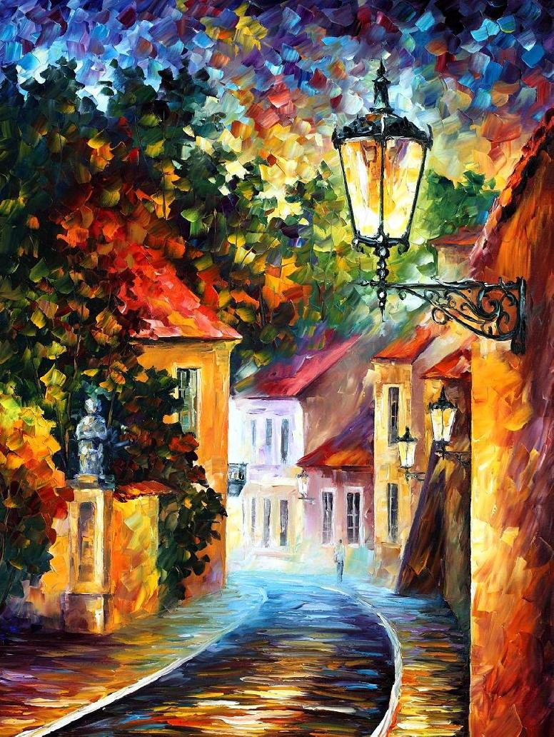 "EVENING — Original Oil Painting On Canvas By Leonid Afremov - Size 30""x40""(75cm x 100cm)"