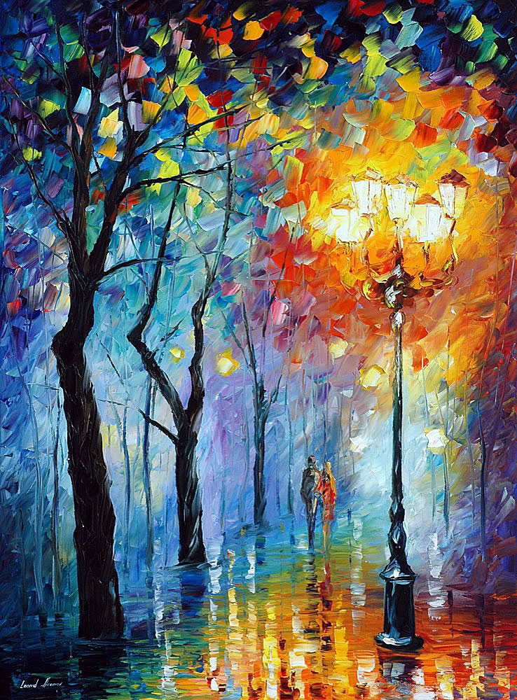 "FOG OF LOVE — Original Oil Painting On Canvas By Leonid Afremov - Size 40""x30"" (100cm x 75cm)"