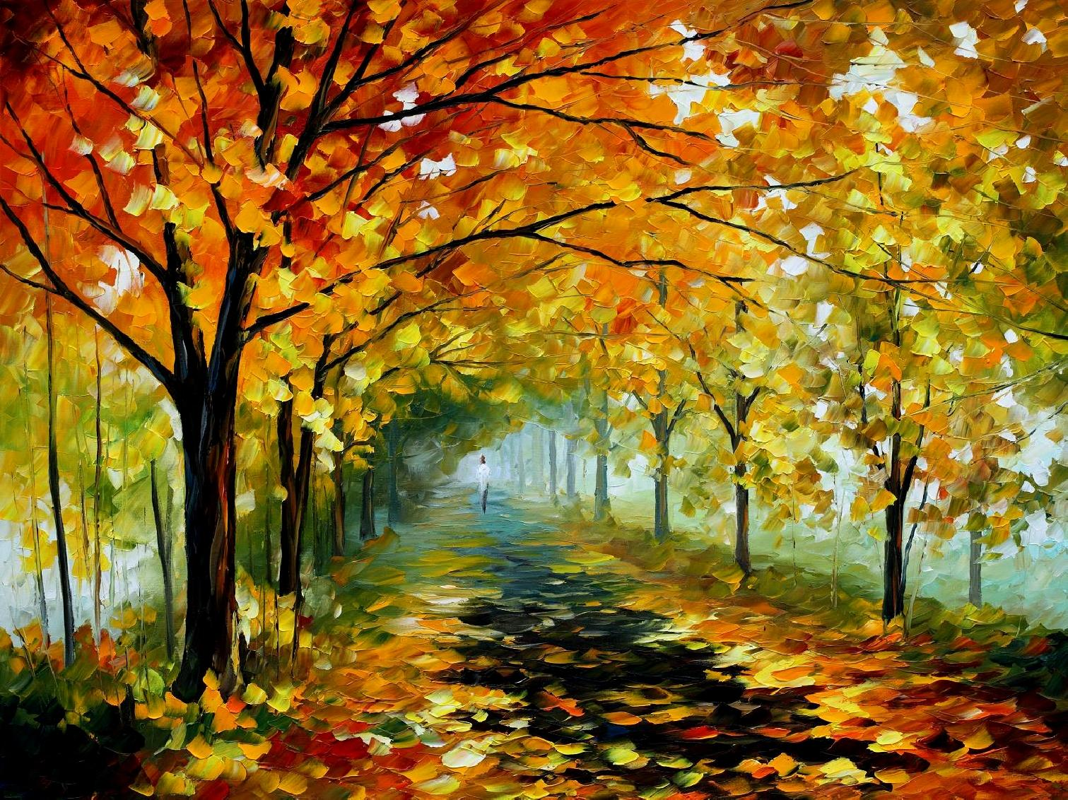 "LIGHT IN THE FOG — Original Oil Painting On Canvas By Leonid Afremov - Size 40""x30"" (100cm x 75 cm)"