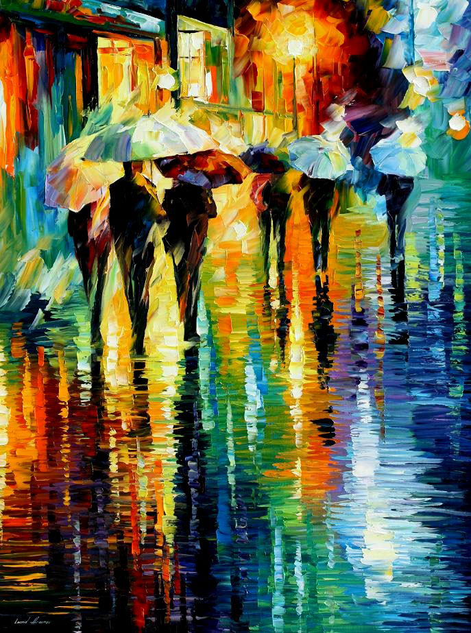 "RAINY ETUDE — Original Oil Painting On Canvas By Leonid Afremov - Size 30""x40"""