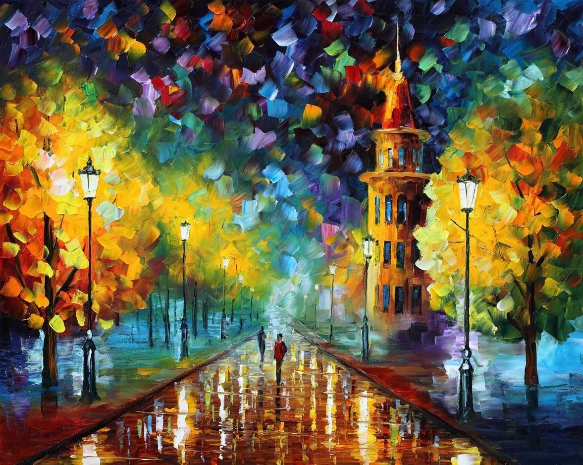 "GOLD WINTER — Original Oil Painting On Canvas By Leonid Afremov - Size 30""X24"" (75cm x 60cm)"