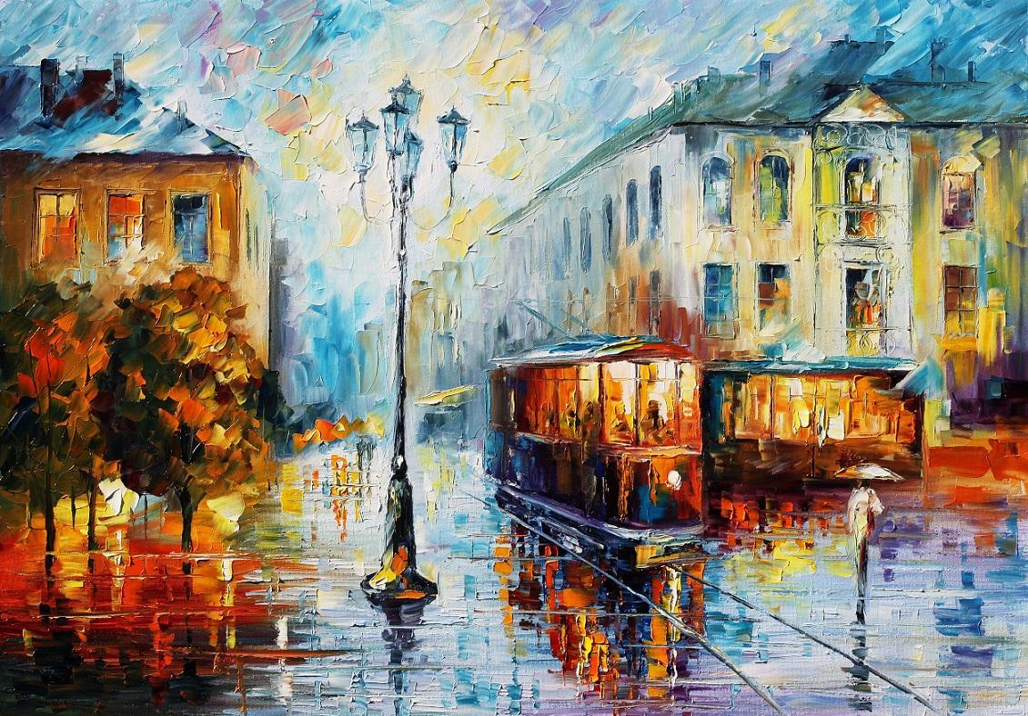 Old street palette knife oil painting art on canvas by for Oil paintings for the home