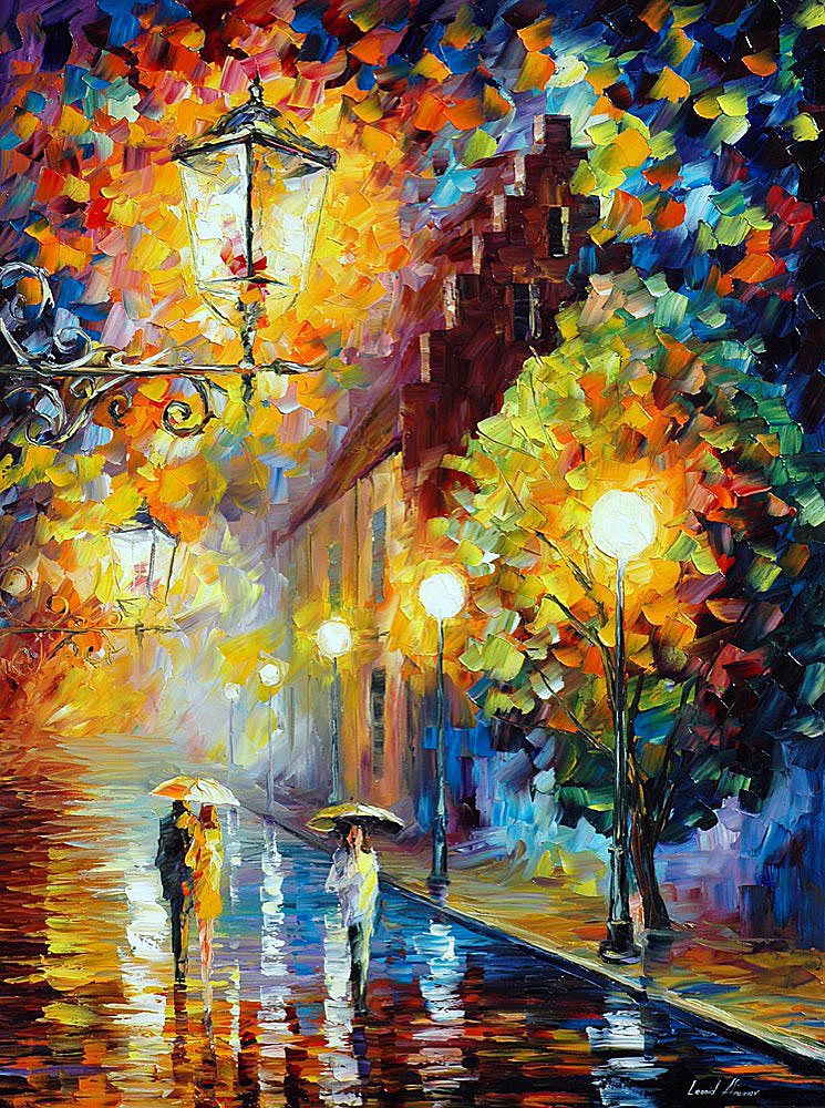 "STROLL UNDER THE MOON — Original Oil Painting On Canvas By Leonid Afremov - Size 30""x40"" (75cm x 100cm)"