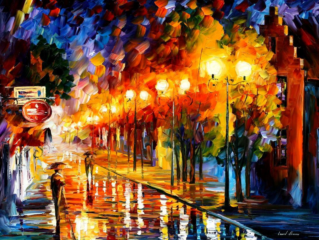 "OCTOBER FOG — Original Oil Painting On Canvas By Leonid Afremov - Size 40""x30"""