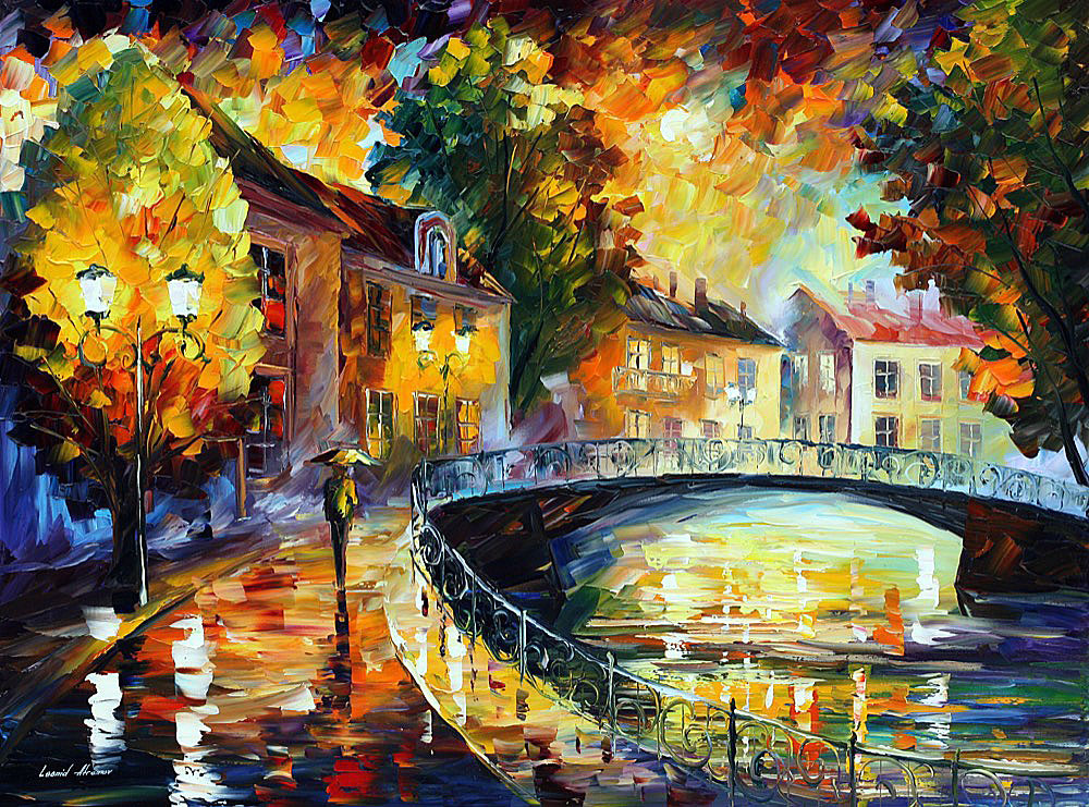 "OLD BRIDGE — Original Oil Painting On Canvas By Leonid Afremov - Size 40""x30"" (100cm x 75cm)"