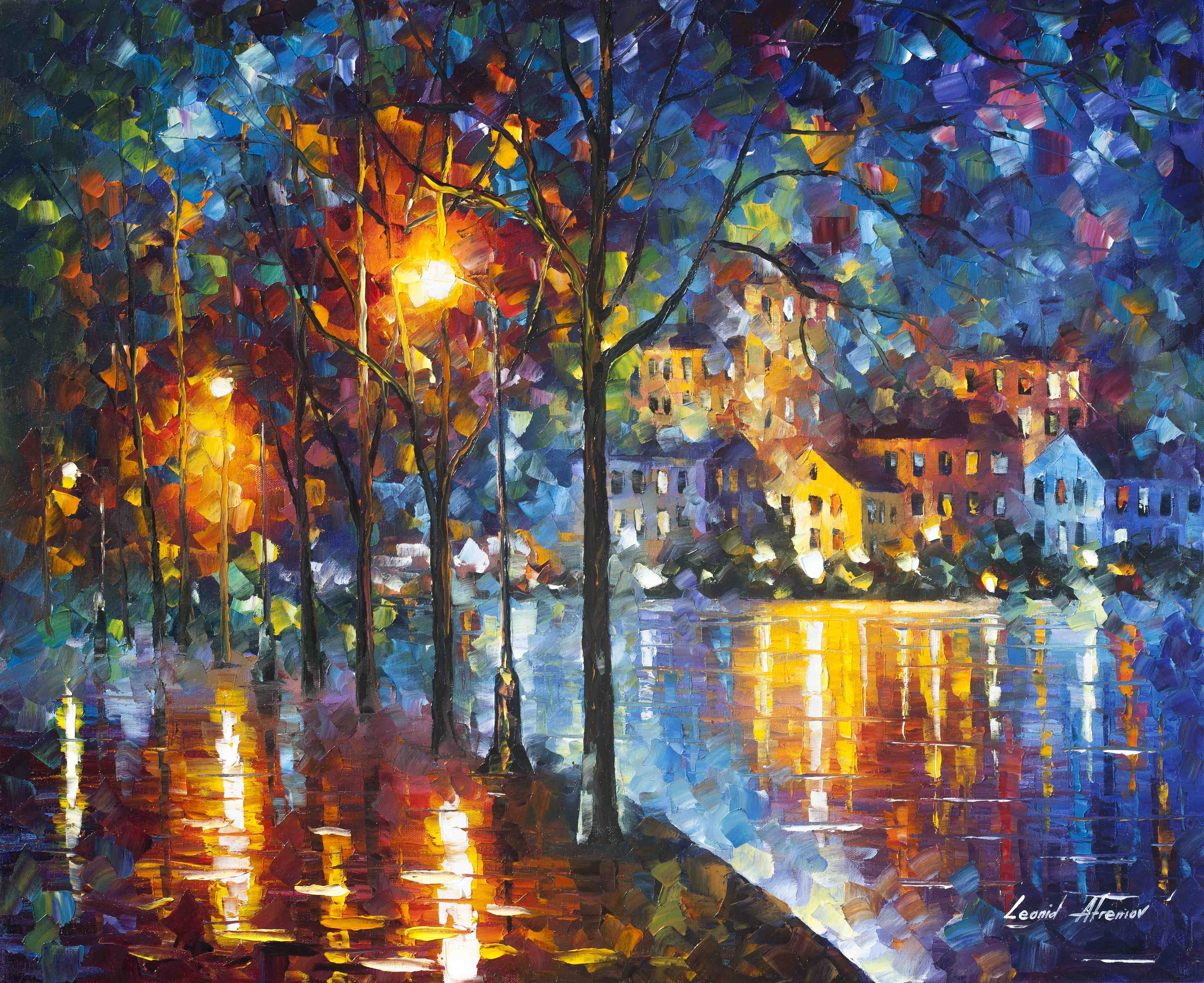"COLD EMOTION  - PALETTE KNIFE Oil Painting On Canvas By Leonid Afremov - 30""X24"" (75CM X 60CM) (offer)"