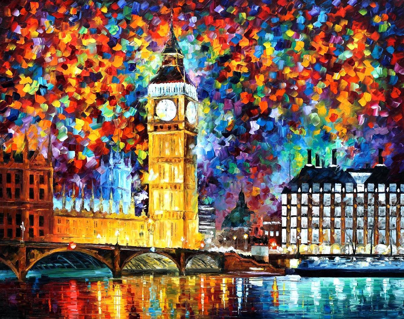 "BIG BEN LONDON 2012 — PALETTE KNIFE Oil Painting On Canvas By Leonid Afremov - Size 30""x24"""