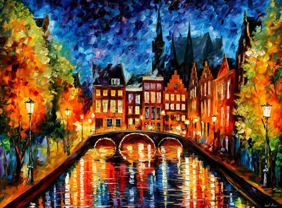 "Amsterdam, Canal— PALETTE KNIFE Oil Painting On Canvas By Leonid Afremov - Size 30""X24"""