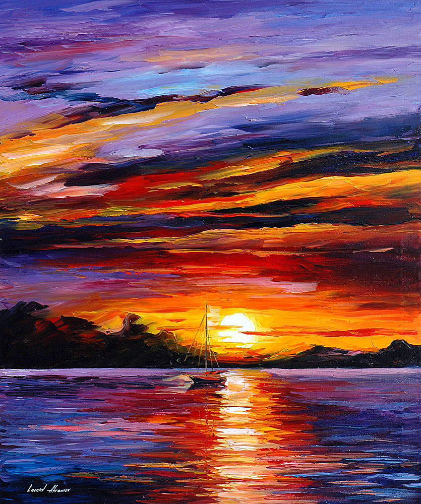 "CARIBBEAN ISLANDS — Original Oil Painting On Canvas By Leonid Afremov - Size 36""x30"" (90cm x 75cm)"
