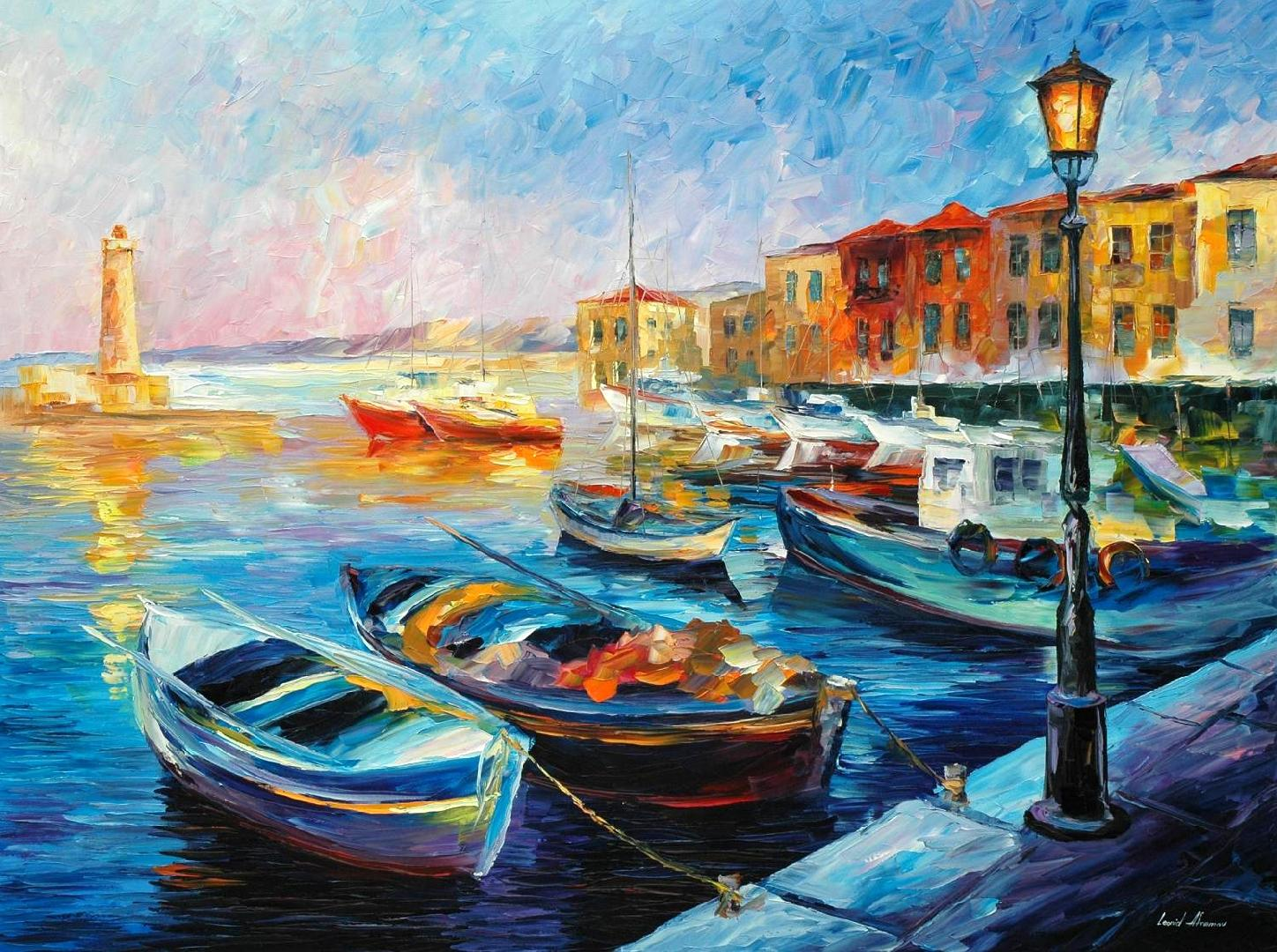 "FISHING BOATS — Original Oil Painting On Canvas By Leonid Afremov - Size 40""X30"""