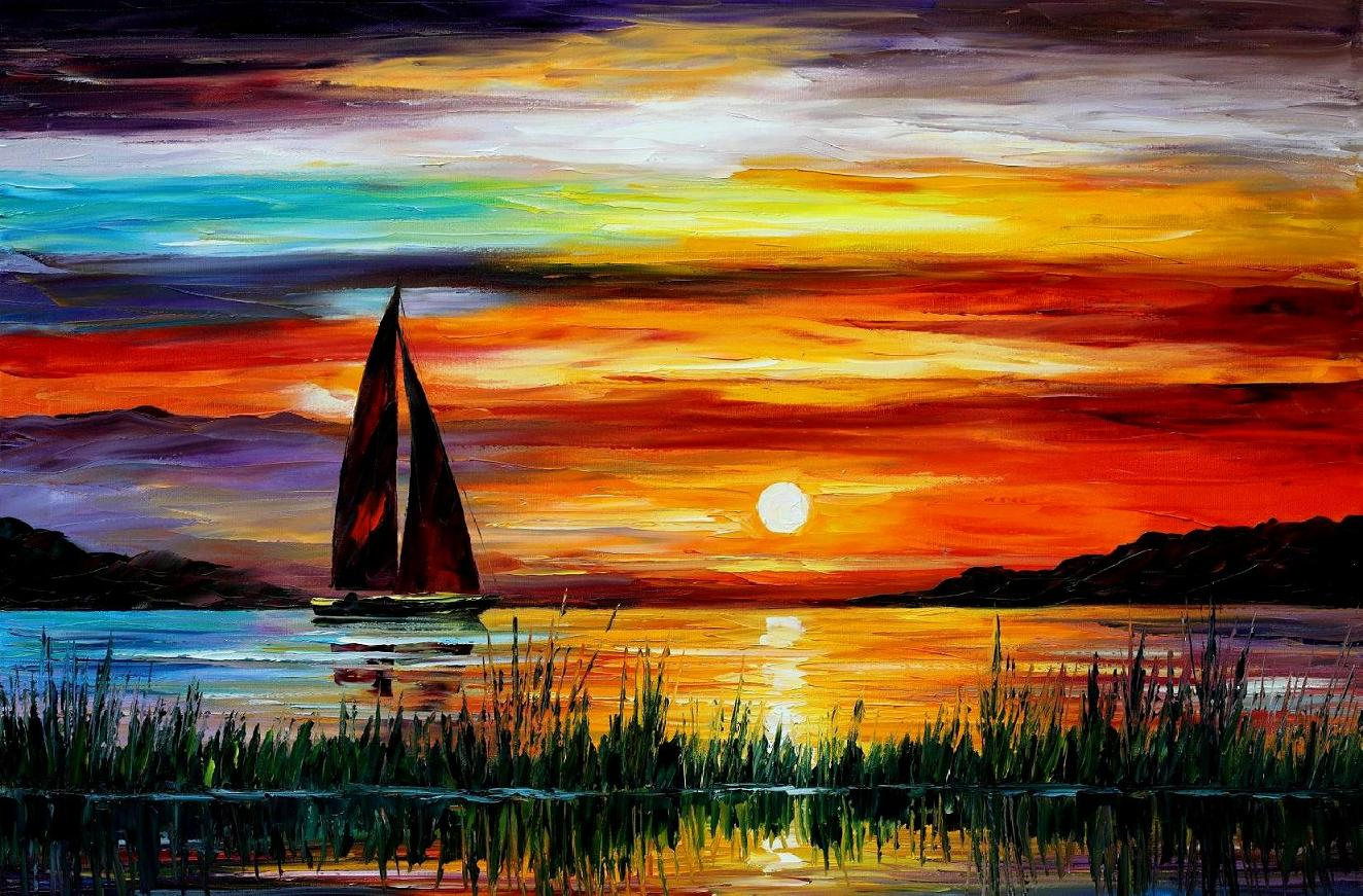 "FLORIDA-LAKE OKEECHOBEE — Original Oil Painting  on Canvas by Leonid Afremov  - Size 36""x24"""