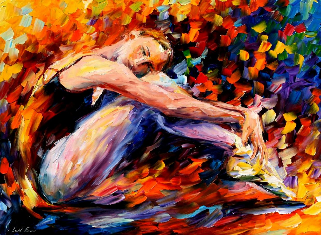 "RESTING BALLERINA — Palette knife Oil Painting  on Canvas by Leonid Afremov  - Size 40""x30"" (100cm x 75cm) (offer)"
