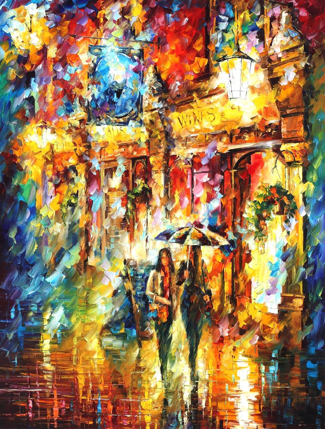 best friends in the city palette knife oil painting on