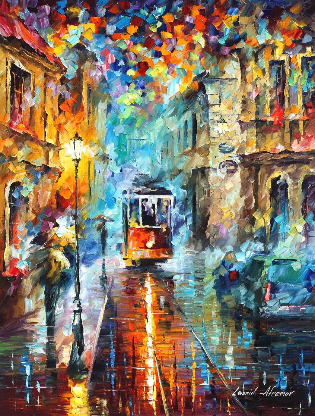 "BLUE TROLLEY — PALETTE KNIFE Oil Painting On Canvas By Leonid Afremov - Size 30""x40"" (75cm x 100cm)  (offer)"