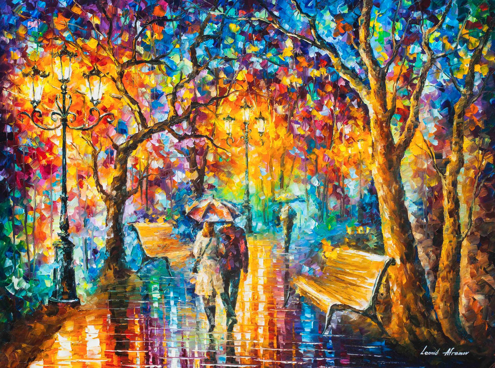 "RAIN VS LOVE  —  PALETTE KNIFE Oil Painting On Canvas By Leonid Afremov - Size 48""X36"""