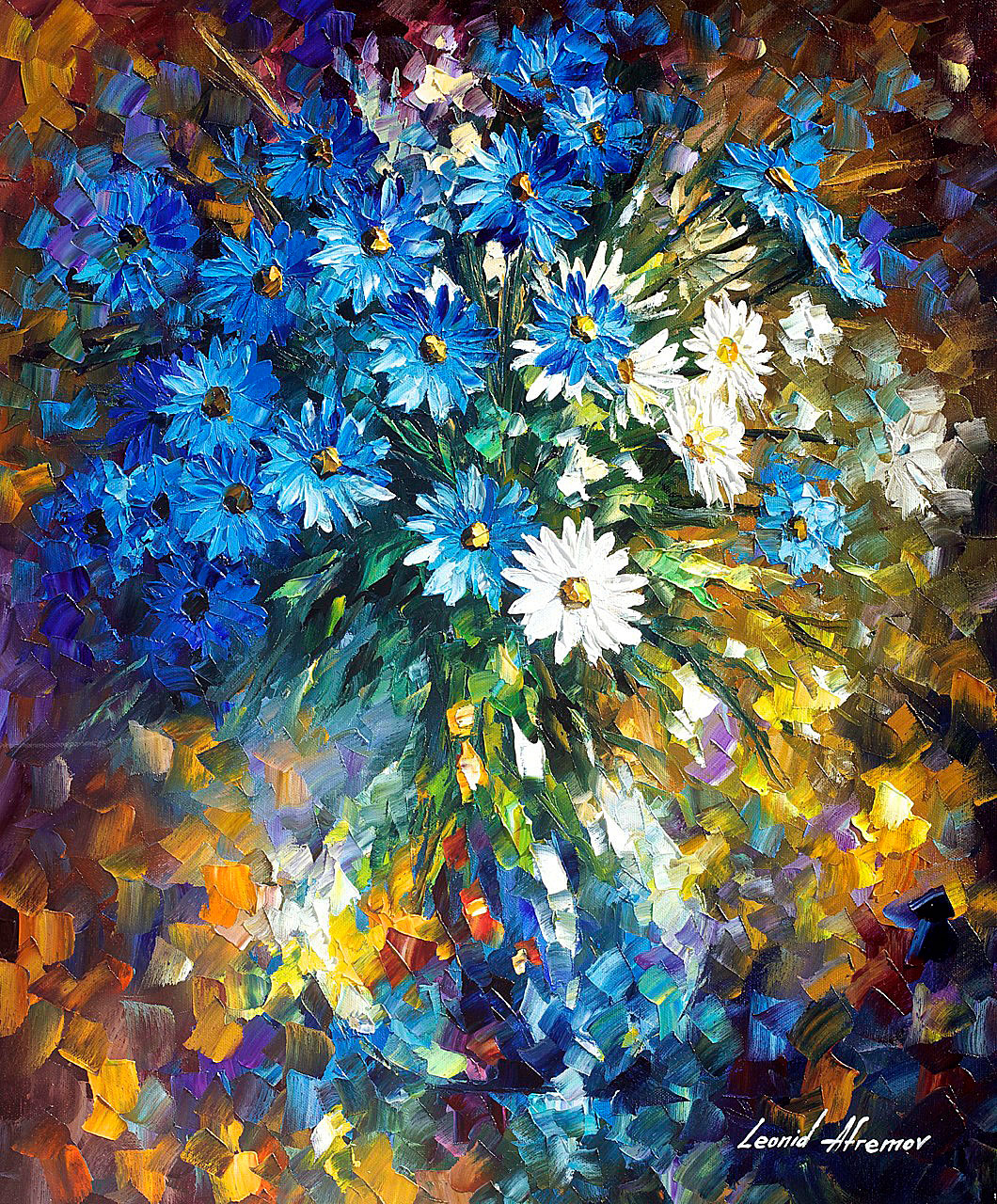 "BOUQUET OF HAPPINESS — Palette Knife  Oil Painting On Canvas By Leonid Afremov - Size 20""x24"" (50cm x 60cm) (offer)"
