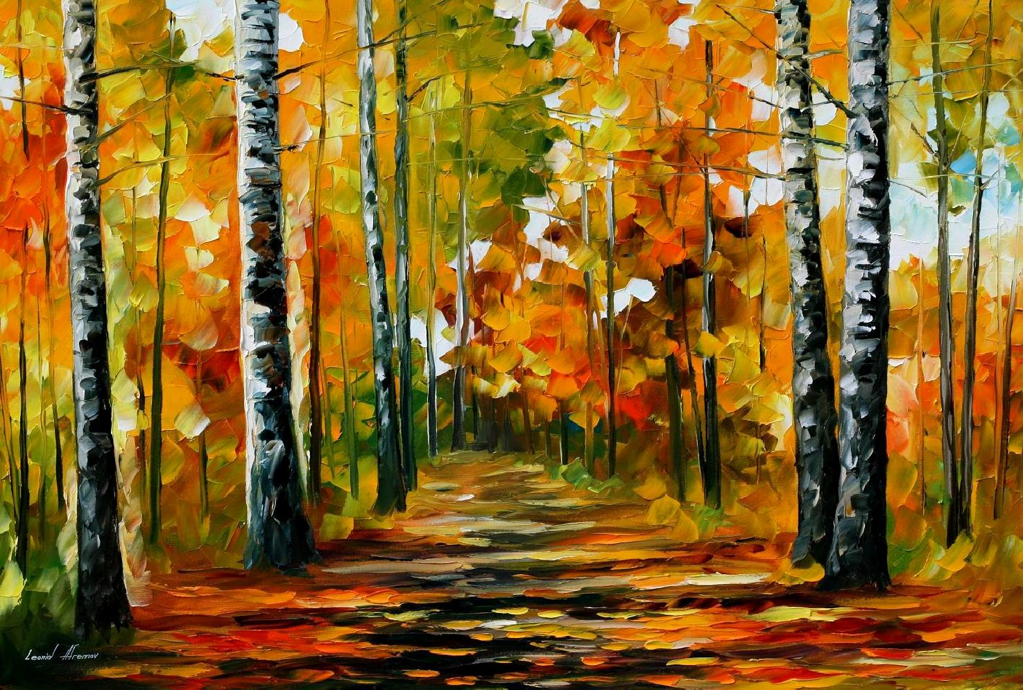 "FIESTA OF BIRCHES — Original Oil Painting On Canvas By Leonid Afremov - Size 36""x24"""