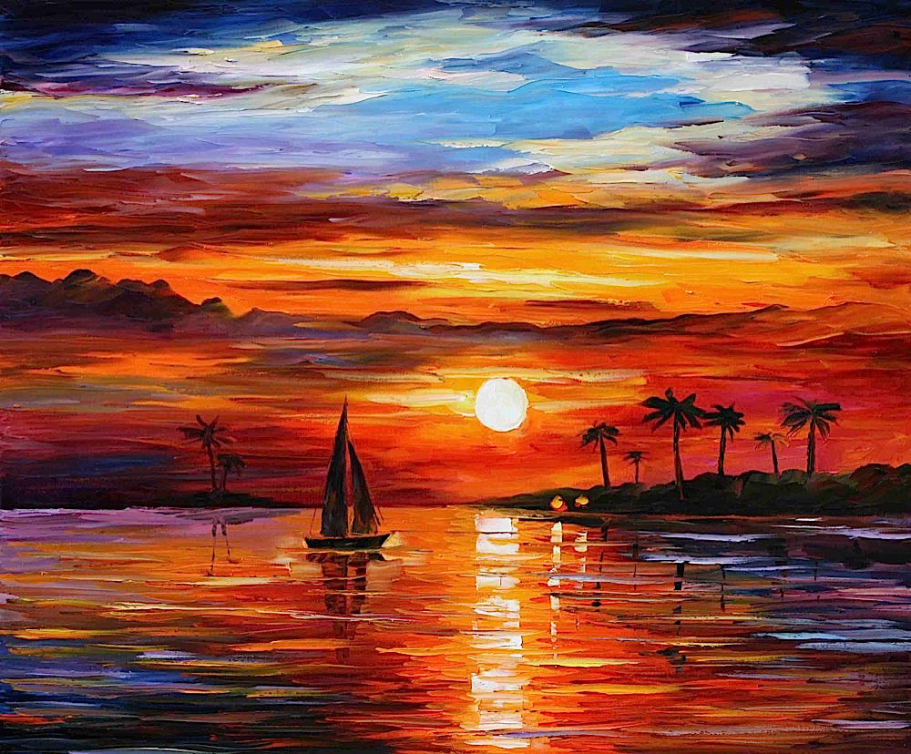 "SUNSET — PALETTE KNIFE Oil Painting On Canvas By Leonid Afremov - Size 36""X30"" (90CM X 75CM) (offer)"