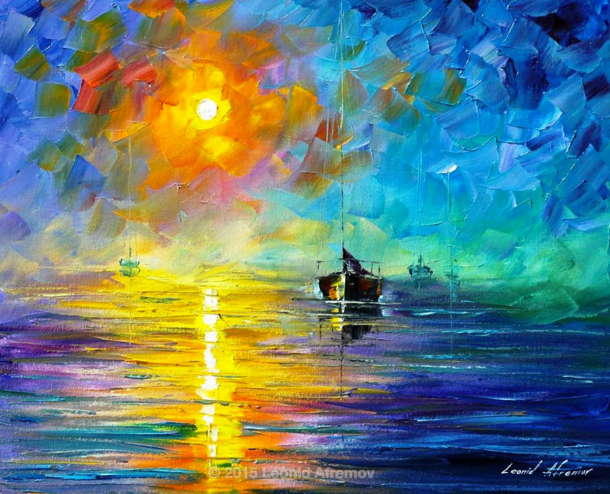"MISTY CALM — PALETTE KNIFE Oil Painting On Canvas By Leonid Afremov - Size 24""x20"" (60cm x 50cm)"