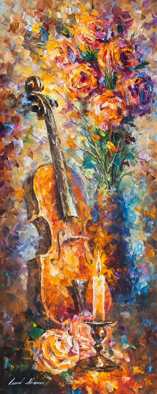 Strings Of Hapiness Original Oil Painting On Canvas By Leonid Afremov 16 X40