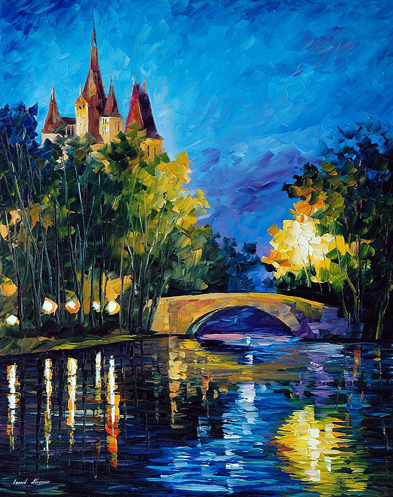 BRIDGE OVER TIME — Original  Oil Painting On Canvas By Leonid Afremov - Size 30x40""