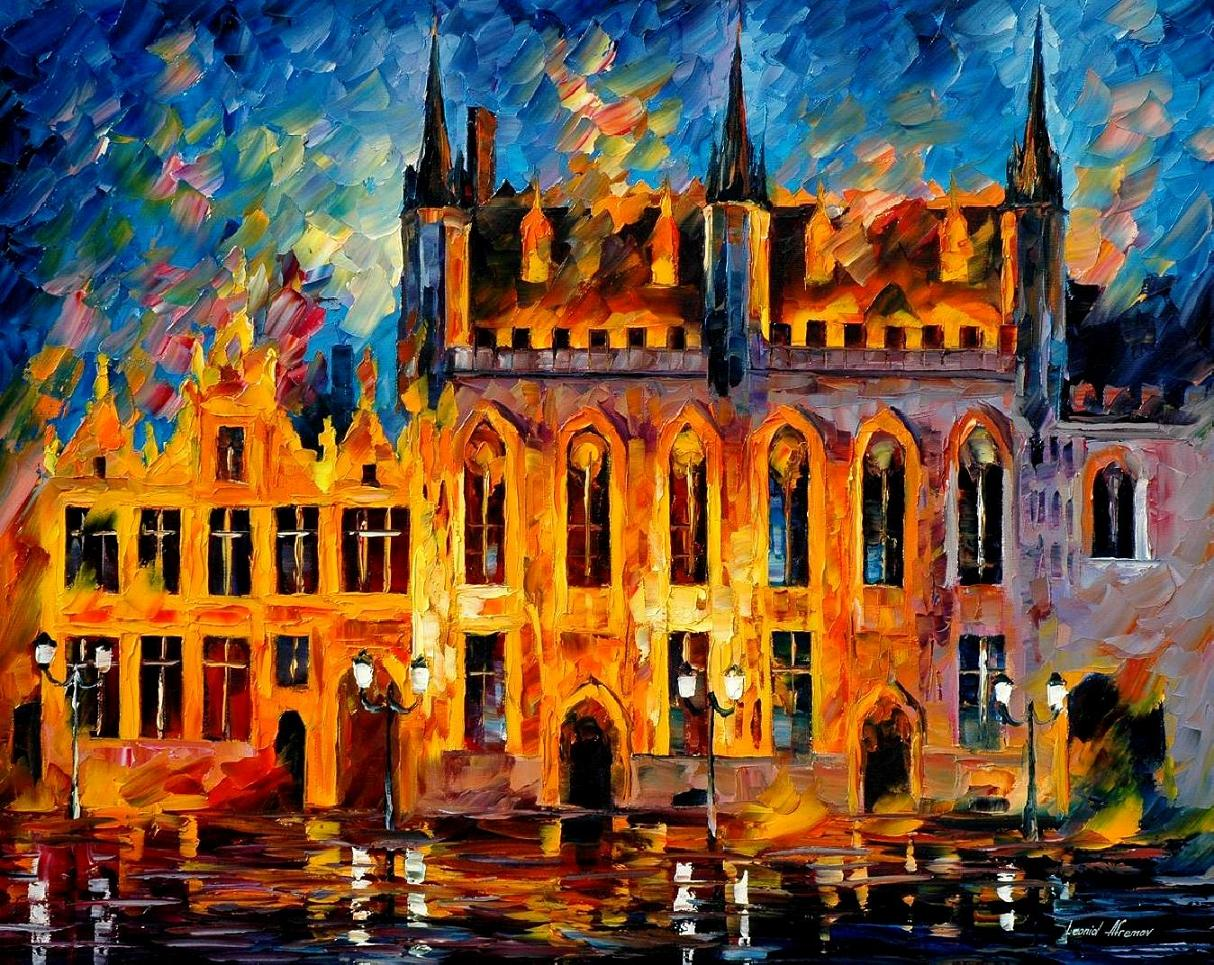 BRUGES — PALETTE KNIFE Oil Painting On Canvas By Leonid ...