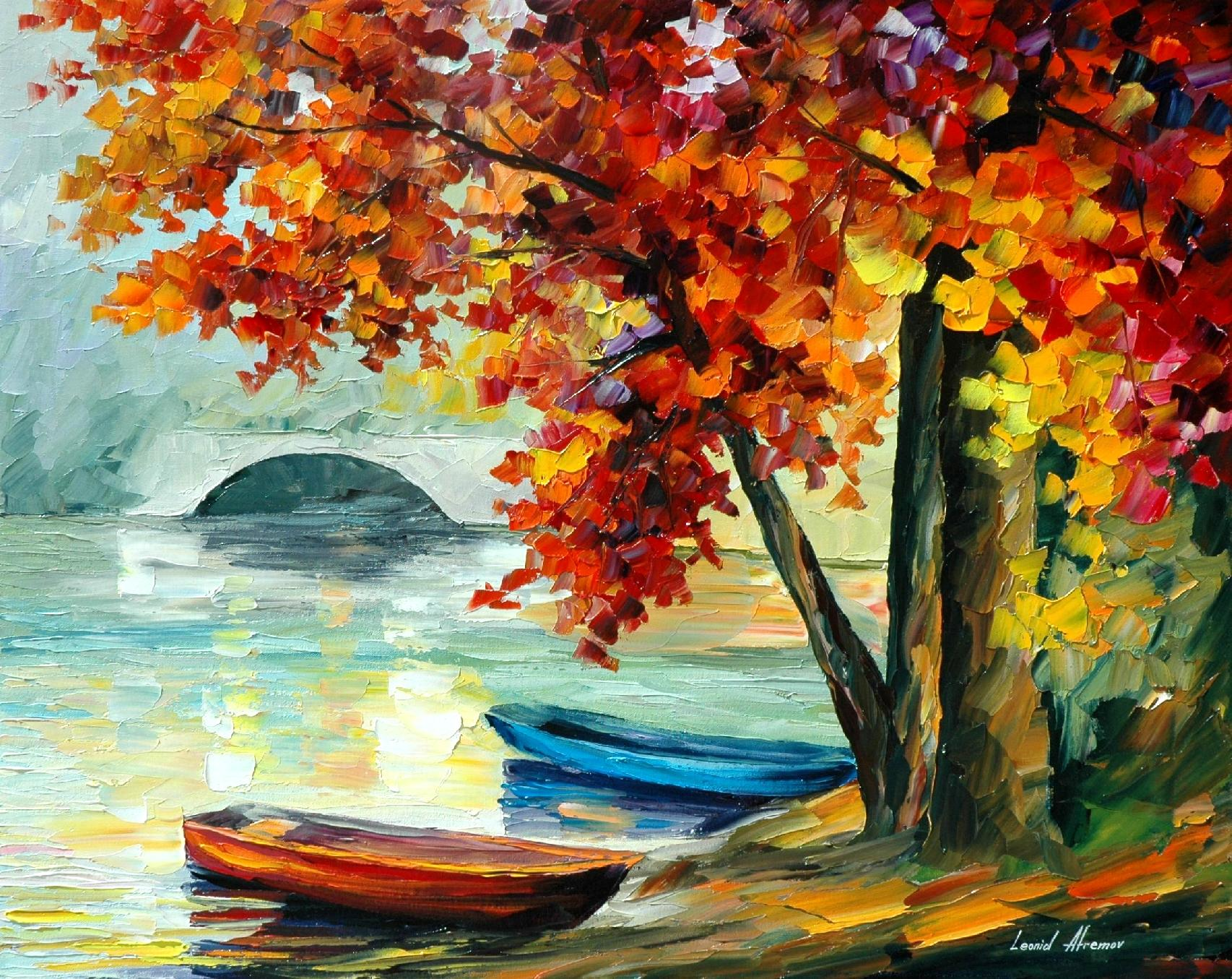 "TWO BOATS - PALETTE KNIFE Oil Painting On Canvas By Leonid Afremov - Size 30""X24"""