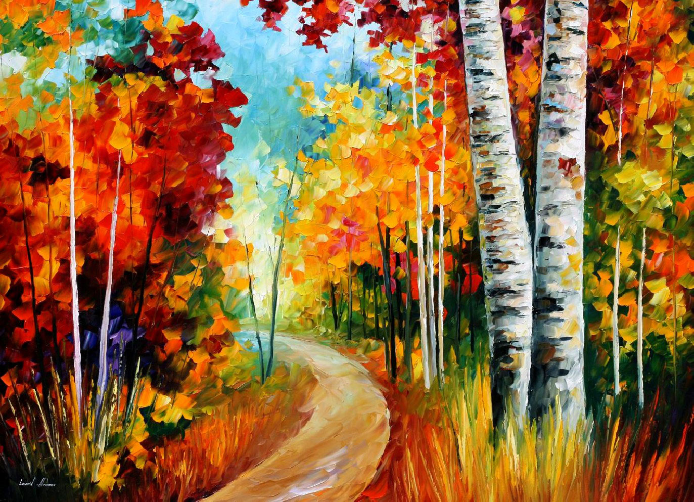 "WHITE BIRCHES - PALETTE KNIFE Oil Painting On Canvas By Leonid Afremov - Size 40""X30"""