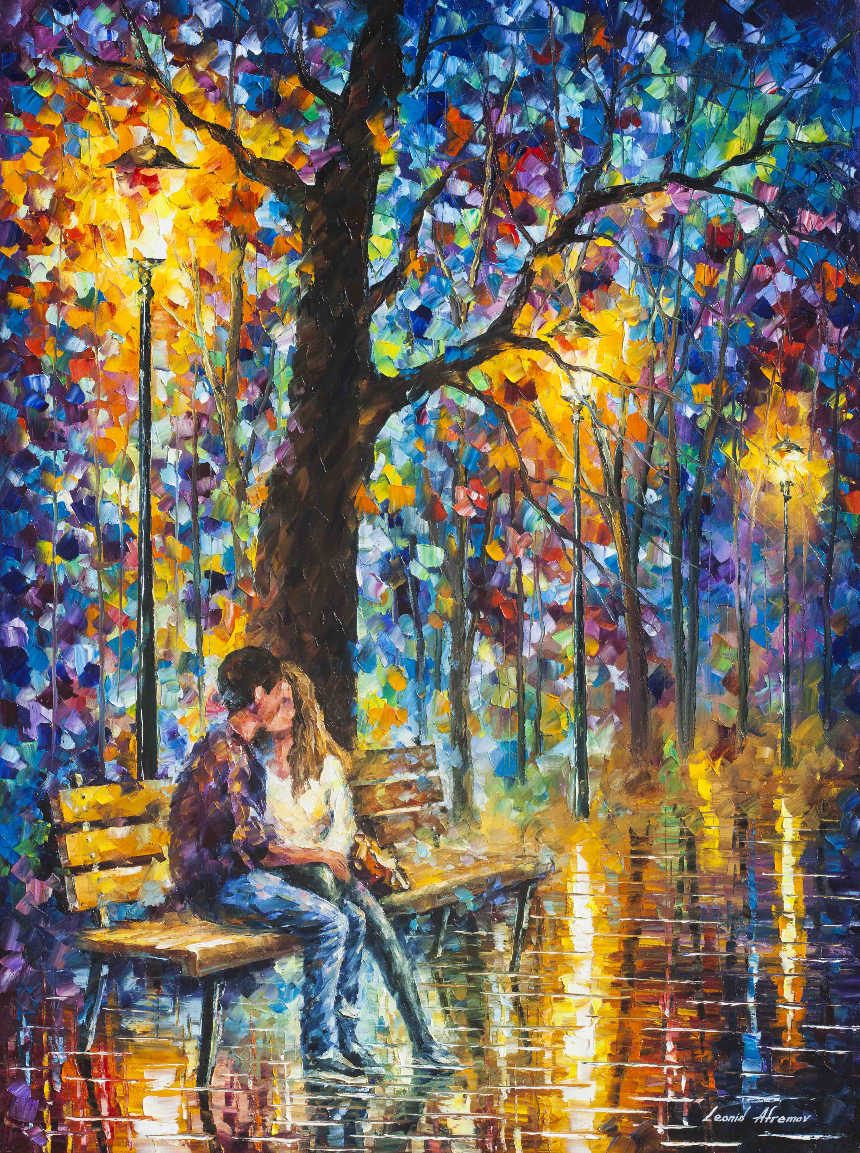 "HAPPINESS  - PALLETE KNIFE Oil Painting On Canvas By Leonid Afremov - 30""X40"" (75cm x 100cm) (offer)"