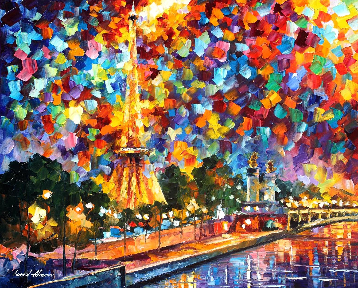 "NIGHT IN PARIS  - Palette Knife Oil Painting On Canvas By Leonid Afremov - 30X24"" (75cm x 60cm) (offer)"