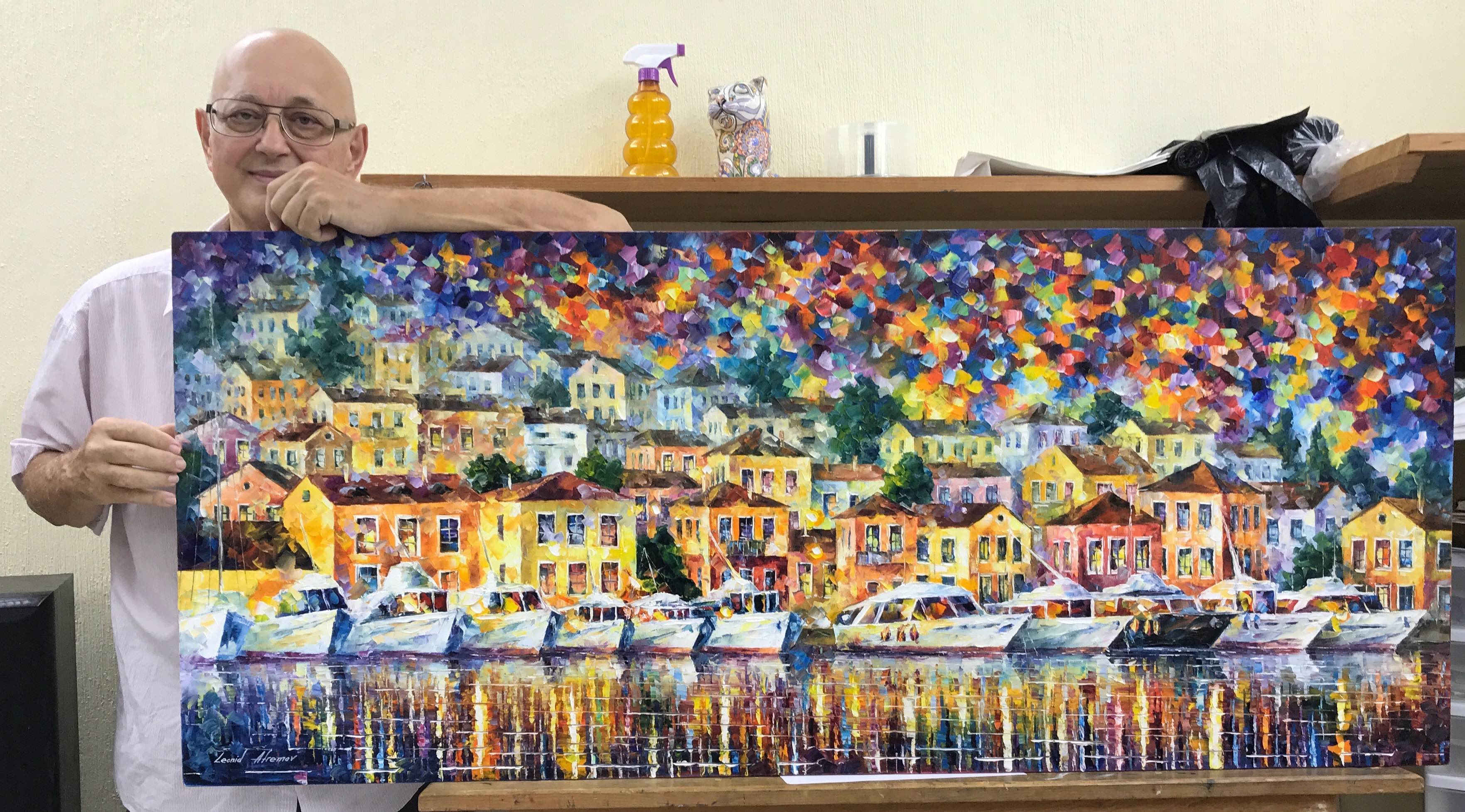 "LONG HARBOR - Original Oil Painting On Canvas By Leonid Afremov - 57""X24""  (143cm x 60cm)"