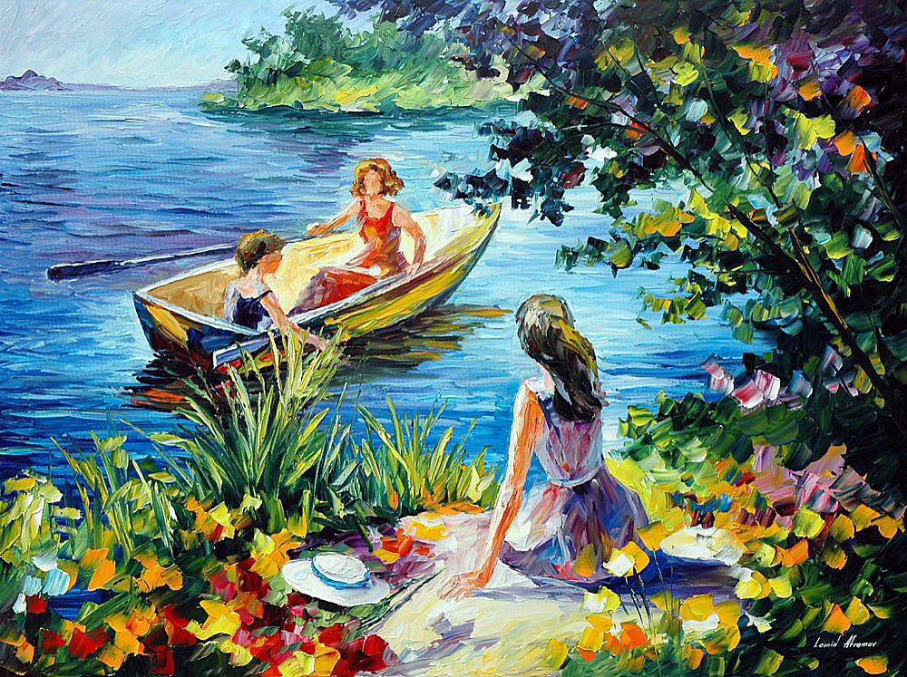 "ON THE LAKE - Original Limited Edition Oil Painting On Canvas By Leonid Afremov - Size 40""x30"" (100cm x 75cm)"