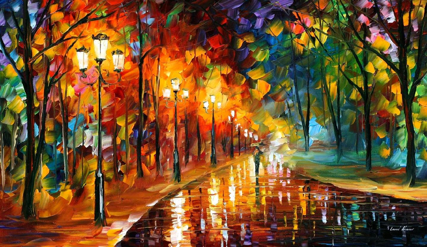 "ALLEY OF THE MEMORIES — Original Oil Painting On Canvas By Leonid Afremov - Size 36""x20"""