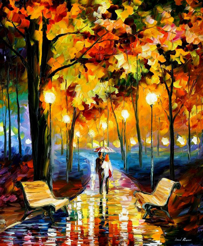 "ANTICIPATION OF HAPPINESS — Original Oil Painting On Canvas By Leonid Afremov - Size 30""x36"""